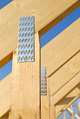 Roof trusses detail - Stock Image - BX9JB2