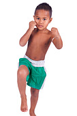asian boy children before a fight - Stock Image - D04DJC
