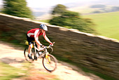 mountain biking in the Peak District National Park Derbyshire UK England GB Great Britain - Stock Image - B562XC