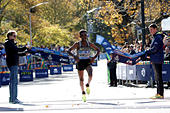 Ghirmay Ghebreslassie of Eritrea crosses the finish line to win the men's field of the 2016 New York City Marathon in Central Park in the Manhattan borough of New York City, NY, U.S. November 6, 2016.  REUTERS/Mike Segar - Stock Image - H9TWPR