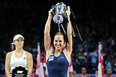 Singapore. 30th Oct, 2016. Dominika Cibulkova of Slovakia holds the trophy during the victory ceremony after winning the WTA Finals match against Angelique Kerber of Germany at Singapore Indoor Stadium, Oct. 30, 2016. Cibulkova won 2-0. © Then Chih Wey/Xinhua/Alamy Live News - Stock Image - H6KCC2