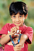 small young boy with catapult   MR#152 - Stock Image - CE6DNY