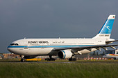 Kuwait Airways Airbus A300B4-605R taxiing for departure at London Heathrow airport. - Stock Image - B8F1FX