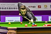 Daqing, China's Heilongjiang Province. 30th Oct, 2016. Mark Selby of England competes during the final match against Ding Junhui of China at the 2016 World Snooker International Championship in Daqing, northeast China's Heilongjiang Province, Oct. 30, 2016. Mark Selby won 10-1 and claimed the title. © Wang Song/Xinhua/Alamy Live News - Stock Image - H6KBP2