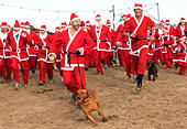 Perranporth, Cornwall, UK. 18th December 2016. Santa's on the sand an annual charity run on Perranporth beach in Cornwall, UK Credit: Kevin Britland/Alamy Live News - Stock Image - HE6424