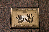 Film stars bronze hand prints in Leicester Square, London, UK - Stock Image - B9B3MW