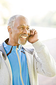 Senior man using a mobile phone, Sweden. - Stock Image - BHH4TB