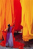 Sari garment factory, Rajasthan, India - Stock Image - ARJK5K