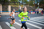 New York, USA. 06th Nov, 2016. Runners pass through Harlem in New York near the 22 mile mark near Mount Morris Park on Sunday, November 6, 2016 in the 46th annual TCS New York City Marathon. About 50,000 runners from over 120 countries are expected to compete in the race, the world's largest marathon. ( © Richard B. Levine) © Richard Levine/Alamy Live News - Stock Image - H7M6MN