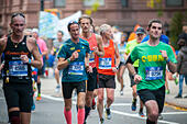 New York, USA. 06th Nov, 2016. Runners pass through Harlem in New York near the 22 mile mark near Mount Morris Park on Sunday, November 6, 2016 in the 46th annual TCS New York City Marathon. About 50,000 runners from over 120 countries are expected to compete in the race, the world's largest marathon. ( © Richard B. Levine) © Richard Levine/Alamy Live News - Stock Image - H7M6MJ