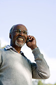 Senior man using a mobile phone, Sweden. - Stock Image - BHH50M