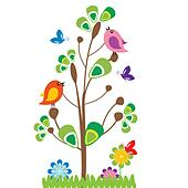 Cute kids cartoon with tree and birds - Stock Image - DNNHMR