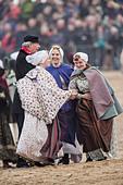 Netherlands, Scheveningen. Bicentenary. Historic landing at Scheveningen beach. Fishermen and women in traditional costume - Stock Image - DMNXBN