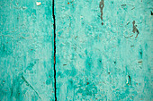 Turquoise painted door - Stock Image - C00Y87