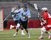 Piscataway, NJ, USA. 2nd Apr, 2016. Johns Hopkins Craig Madarasz (5) tries to get around Alex Schoen (45) during an NCAA Lacrosse game between the Johns Hopkins Blue Jays and the Rutgers Scarlet Knights at High Point Solutions Stadium in Piscataway, NJ. Rutgers defeated Johns Hopkins, 16-9. Mike Langish/Cal Sport Media. © csm/Alamy Live News - Stock Image - FWB2JY