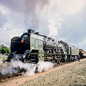 "Historic steam locomotive ""Pacific PLM 231 K 8"" of ""Paimpol-Pontrieux"" train Brittany France - Stock Image - D5RAJH"