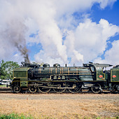 "Historic steam locomotive ""Pacific PLM 231 K 8"" of ""Paimpol-Pontrieux"" train Brittany France - Stock Image - D5RABW"