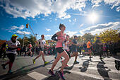 New York, USA. 06th Nov, 2016. Runners pass through Harlem in New York near the 22 mile mark near Mount Morris Park on Sunday, November 6, 2016 in the 46th annual TCS New York City Marathon. About 50,000 runners from over 120 countries are expected to compete in the race, the world's largest marathon. ( © Richard B. Levine) © Richard Levine/Alamy Live News - Stock Image - H7M6PK