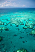 Aerial views of the spectacular Great Barrier Reef near the Whitsunday Islands in Queensland, Australia. - Stock Image - CBTG7M
