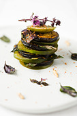 Tomato and eggplant mille feuille - Stock Image - CBCF0M