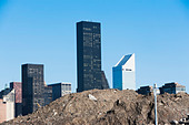 Trump World Tower behind pile of soil in New York City, USA - Stock Image - D9DM4D