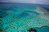 Aerial views of beautiful Heart Reef in the spectacular Great Barrier Reef near the Whitsunday Islands in Queensland, Australia. - Stock Image - CBTE8A