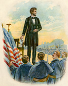 President Abraham Lincoln delivering the Gettysburg Address on the battlefield during the Civil War 1863 - Stock Image - A36RFP