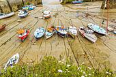 Boats in the picturesque harbour of Newquay in Cornwall, UK - Stock Image - HEYKHN