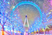 London Eye Millennium Wheel colorful illuminated with festive Christmas Xmas lights in winter. - Stock Image - D0GCCW