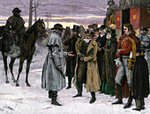 Highwaymen robbing stagecoach passengers on the King's Highway, England, 1700s. - Stock Image - DD7FPR