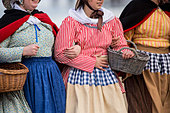 Netherlands, Scheveningen. Bicentenary. Historic landing at Scheveningen beach. Fishermen and women in traditional costume - Stock Image - DMNXBD
