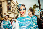 Sitges, Spain. March 4th, 2014: Children revellers dance during the Sunday parade of the children carnival parade in Sitges. © Matthias Oesterle/Alamy Live News - Stock Image - DWCNBK