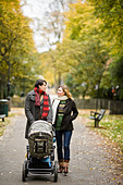 A couple taking a walk with their son Sweden. - Stock Image - BBXHCC