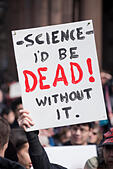 "Boston, Massachusetts, USA. 19th February, 2017.  More than 1,000 scientists and science advocates gathered in Copley Square in central Boston during the ""Stand up for Science"" rally.Credit: Chuck Nacke/Alamy Live News - Stock Image - HP8T9D"