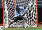 Piscataway, NJ, USA. 2nd Apr, 2016. Johns Hopkins goalkeeper Brock Turnbaugh (29) makes a save during an NCAA Lacrosse game between the Johns Hopkins Blue Jays and the Rutgers Scarlet Knights at High Point Solutions Stadium in Piscataway, NJ. Rutgers defeated Johns Hopkins, 16-9. Mike Langish/Cal Sport Media. © csm/Alamy Live News - Stock Image - FWB2JK