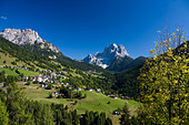 Italy Alps Veneto Dolomites Cadore hill wood forest meadows Pelmo holidays travel, - Stock Image - BNM91D