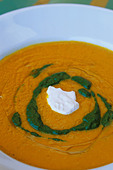 Food, Carrot ginger rosemary soup with sour cream and spinach coulis - Stock Image - AX0KAB