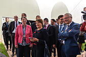 Marrakech, Morocco. 15th Nov, 2016. The German Federal Minister of the Environment Barbara Hendricks and the Moroccan Minister of Environment Hakima El Haite partake in the UN Climate Conference COP22 in Marrakech, Morocco, 15 November 2016. Germany and the host Morocco have introduced a climate protection consultation programme for less experienced nations. Photo: Abdellah Azizi/dpa/Alamy Live News - Stock Image - H8R4X2