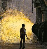 Steel-mill worker overseeing a Bessemer steel converter, 1800s. - Stock Image - DB3NE6