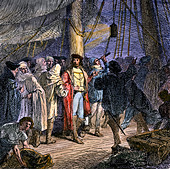 Columbus navigating by the stars from the deck of the Santa Maria, 1492. - Stock Image - DEGA8B
