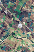 aerial map farming around Salinas river Monterey county California - Stock Image - B6GF8D