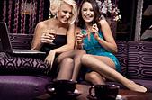 Two pretty girl having fun together - Stock Image - C690B9