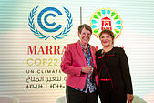 Marrakech, Morocco. 15th Nov, 2016. The German Federal Minister of the Environment Barbara Hendricks and Moroccan Minister of Environment Hakima El Haite partake in the UN Climate Conference COP22 in Marrakech, Morocco, 15 November 2016. Germany and the host Morocco have introduced a climate protection consultation programme for less experienced nations. Photo: Abdellah Azizi/dpa/Alamy Live News - Stock Image - H8R4JT