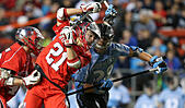 Piscataway, NJ, USA. 2nd Apr, 2016. Christian Mazzone (21) and Robert Kuhn (28) tangle during an NCAA Lacrosse game between the Johns Hopkins Blue Jays and the Rutgers Scarlet Knights at High Point Solutions Stadium in Piscataway, NJ. Rutgers defeated Johns Hopkins 16-9. Mike Langish/Cal Sport Media. © csm/Alamy Live News - Stock Image - FWB1XP