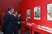 Moscow, Russia. 4th May, 2017. Director of the Russian State Archive of social and political history, Andrei Sorokin (L), and chairman of the Russian Historical Society, Russian Foreign Intelligence Service Chief Sergei Naryshkin attend the opening of a historical and documentary exhibition titled '1942. In the Headquarters of the Victory', marking the 72nd anniversary of the victory over Nazi Germany in the 1941-1945 Great Patriotic War, the Eastern Front of World War II, in the Manege Central Exhibition Hall. Credit: Artyom Geodakyan/TASS/Alamy Live News - Stock Image - J3AYTR
