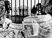 Tourists in front of the White House read headlines, 'Nixon Resigning.' Aug. 8, 1974. (CSUALPHA642) CSU Archives/Everett - Stock Image - D18H11