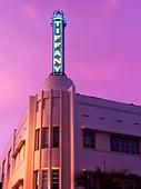 Art Deco architecture,South Beach Miami,hotel,exterior view at dusk - Stock Image - BC4G7E