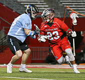 Piscataway, NJ, USA. 2nd Apr, 2016. Josh Jordan (23) carries the ball during an NCAA Lacrosse game between the Johns Hopkins Blue Jays and the Rutgers Scarlet Knights at High Point Solutions Stadium in Piscataway, NJ. Rutgers defeated Johns Hopkins 16-9. Mike Langish/Cal Sport Media. © csm/Alamy Live News - Stock Image - FWB1PP