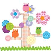 Cute kids cartoon with tree and owns - Stock Image - DNNHMK