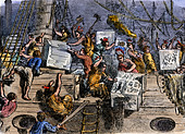 Colonists throwing boxes of tea overboard during the Boston Tea Party, 1773 - Stock Image - BMA052